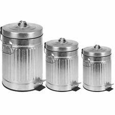 Treteimer Mülleimer Zink Abfalleimer 3L 5L 12L Pedaleimer Rillen Silber 3 Griffe