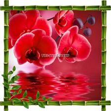 Sticker autocollant Cadre bambou Fleurs rouges 7215