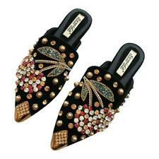 Womens Flat heel Rhinestones Shoes Pointy Toe Rivet Slippers Spring Leisure Chic