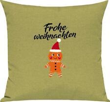 Kinder Kissen, Frohe Weihnachten Lebkuchenmänchen Merry Christmas, Kuschelkissen
