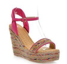 Sandali donna rosa colorati corda  zeppa 7.5 cm eleganti e comodi 9229