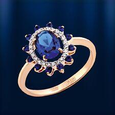 Russische Rose Rotgold 585  RING mit blau Spinell 2.78g BEZAUBERND! Neu Glänzend