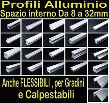 PROFILO ALLUMINIO per STRISCIA LED BARRA STRIP (FLESSIBILI, CALPESTABILI, SCALE)
