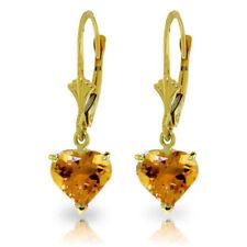 Genuine Citrine Gemstones Hearts Leverback Earrings 14K Yellow, White, Rose Gold