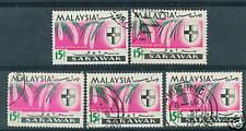 Sarawak orchids 15c X  5  1965 used # C 182
