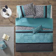 Beautiful Modern Chic Trendy Blue White Aqua Black Zebra Polka Dot Comforter Set