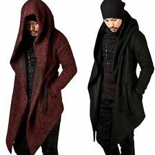 Men's Hooded Jacket Long Coat Cape Cloak Overcoat Irregular Hem Korean Style