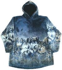 Wolf Faces Hooded Ultra Plush Fleece Wolf Jacket  XS - 4X