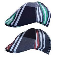 R C Headwear Cotton CountryClub Plaid Striped Cabbie Golf Newsboy Flat Cap Hat