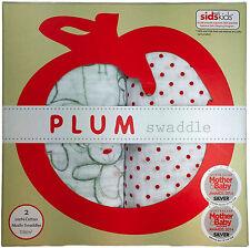Plum Swaddle Muslin Swaddles (2 / pack) Various Patterns, 100 Cotton, Unisex