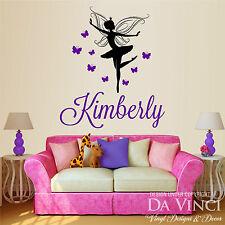 Personalized Name Ballet Ballerina Fairy Butterflies Dance Vinyl Decal Sticker