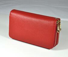 Genuine Leather Zip Around Wallet Fashion Wristlet Handbag #J018 Red