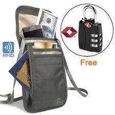 Waterproof Travel Neck Wallet Pouch Passport Ticket Holder + 1 Extra TSA Lock-CA