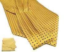 FOULARD UOMO seta ASCOT giallo A POIS blu CASHE-COL giallo OCRA pallini bianchi