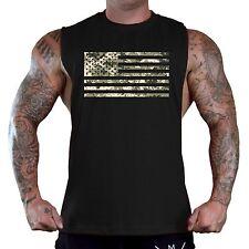 New listing Men's Digital Camo Us Flag Black T-Shirt Tank Top Gym Workout American Army Usa