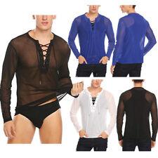 Sexy Men's Mesh See Through Long Sleeves T-shirt Underwear Club Wear Tank Top