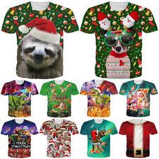 Christmas Sloth 3D Print Women/mens Casual T-Shirt Short Sleeve Graphic Tee Tops