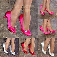 New Ladies Satin Evening Shoe Womens Low Kitten heel Closed Toe Pumps size 30297