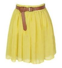 Yellow Chiffon Women Girl Short Mini Dress Skirt Pleated Retro Elastic Waist Hot