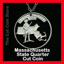 Massachusetts Cut Coin Pendant Necklace Quarter