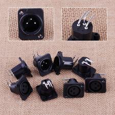 10pcs XLR 3 Pin 3.2x2.6x2.5cm Male Female Plug Panel Mount Socket Connector PCB