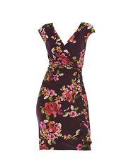 Chaps by Ralph Lauren Womens Floral Ruffled Knot Front Surplice Sheath Dress