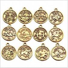 Golden Gold Alloy Indian/Western Zodiac Charm Coin Pendants 18mm Dia (147918)