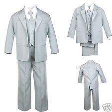 Infant Toddler Kid Teen Boy Gray Silver SUIT Tuxedo VEST 5PCS S-20 Wedding Party