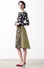 $2990 New Oscar de la Renta EMBELLISHED FLORAL Jacquard Citron Full Skirt 0 2 4