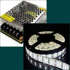 STRISCIA STRIP LED SMD 5630 o 5050 BIANCO 5 MT + ALIMENTATORE 5A