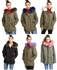 Dames Multicolore Doublé Fourrure Encapuchonné hiver Manteau Parka Vestes 36-44