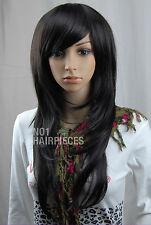 NEW DARK BROWN/BLACK STRAIGHT WOMEN'S WIG LIKE REAL HAIR HEAT RESISTANT 05 + CAP