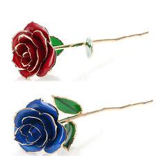 "11"" Long Stem Real Rose Dipped in 24k Gold Foil Trim Rose  Valentine's Gift"