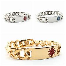 Stainless Steel Medical Alert ID Curb Chain Bracelet Free Engraving 16 mm Width