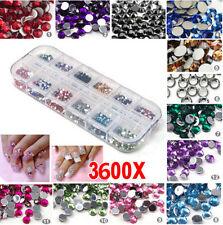 3D 3000PCS Nail Art Rhinestones Glitters Acrylic Tips Decoration Manicure Case
