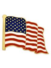PinMart's Made in USA Waving American Flag Enamel Lapel Pin - Gold