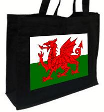 Welsh Bandiera Cotone Shopping Bag-Scelta di Colori: Nero, Crema