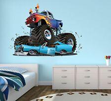 Monster Truck Wall Decal Boys Bedroom Art  Decor Gravedigger Sticker  Vinyl J132