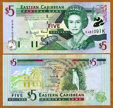 Eastern East Caribbean, $5 (2000) St Kitts P-37k UNC