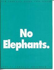Ny New York City Opera No Elephants 1990 Season Program