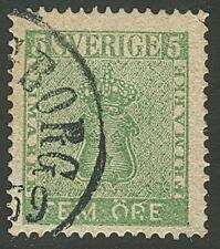 SWEDEN #6v (7v2) 5ore green, OP.E variety, used, VF, Facit $95.00,