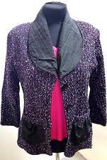 Damen-Blazer-Jacke Satin-Kragen 38 40 42 oder 44 schwarz lila/pflaume