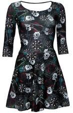 Designer Gothic Wiccan Cross Cat Skull Rose Print 3/4 Sleeve Skater Flare Dress
