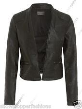 nouvelles femmes Similicuir Look Panneau Veste Motard, Size 8 pour 16 noir