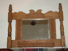 Victorian pressed oak wall mount match holder W/ mirror