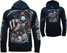 Grim Reaper Bike Rider Glow In Dark Tattoo Goth Zip Zipped Hoodie Hoody Jacket