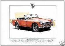 Mg Midget Mkiii (1966-74) - Fine Art Print-Sports Car-A4 Tamaño de imagen Mark 3