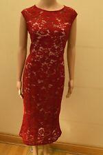 New Lipsy Berry Red & Nude Lace Midi Dress Sz UK 10