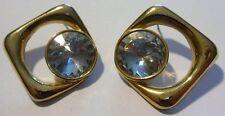 boucles d'oreilles percées bijou vintage couleur or résine imitation diamant 73