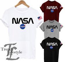 NASA SPACE LOGO POCKET SIZE ASTRONAUT PRINT  AMERICAN USA FLAG UNISEX T-SHIRT